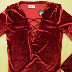 Hollister Size Medium Red Velour Body Suit NWT